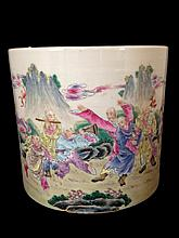 Chinese Famille Rose Brush Porcelain Pot