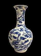 Chinese Blue and White Imperial Dragon Porcelain Vase
