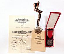 2 pcs, WWII GERMAN MEDALS and paperwork