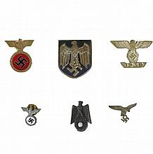 WWII GERMAN PARTY BADGE PIN TINNIE LOT, 6 pcs