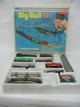 Marx Locomotive W/ Coal Tender, Caboose, Two Rail Cars with Track & Motor