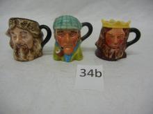 3 Miniature Toby Mugs  Robinson Crusoe, Sherlock Holmes, King Arthur