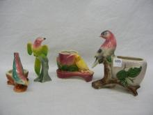 3 Royal Coplay Bird Planters & 1 Other Bird Planter
