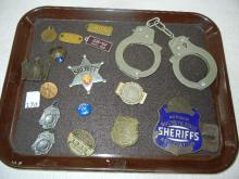 Porcelain Covered Sheriffs License Pl. Bracket, Sheriff Badge, Handcuffs, 1939 Chauffeur Pin, Gold Plated Law Enforcement Ring, Money Clip, Dog License  1968, 2 Goodrich  Adv. Mini License Plates