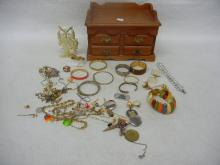 Wood Jewelry Box and Lot of Costume Jewelry