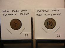 (2) Transit Tokens.  Dayton OH and New York City.