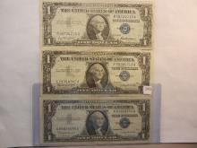 Three 1957 One Dollar Silver Certificates