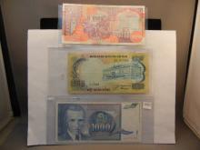 Three 1000 Notes:Ngan-Hang Quoc- Gia Viet-Nam, Central Bank Of Somalia, Jugoslavia