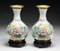 Pair Of Chinese Antique Cloisonne Bronze Vases