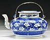 A Chinese Antique Blue & White Porcelain Teapot