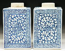 Pair Chinese Antique Blue & White Square Porcelain Vases