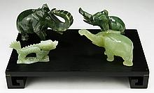 Four (4) Chinese Serpentine Jade Carvings On Stand