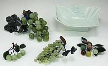 Four (4) Chinese Jade/Stone Carved Grape Bonsais