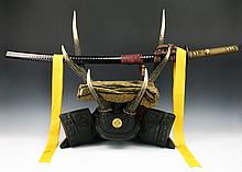 A Japanese Antique Katana Sword With Samurai Stand