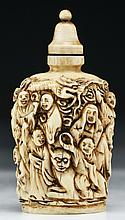 A Chinese Antique Carved Ivory Snuff Bottle