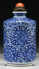 A Chinese Antique Blue & White Porcelain Snuff Bottle