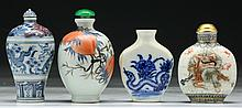 Four (4) Chinese Porcelain Snuff Bottles
