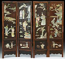 A Chinese Antique Wood & Mother of Pearl Table Screen