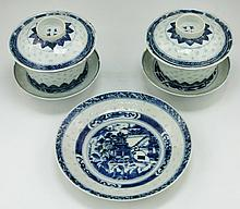Five (5) Chinese Blue & White Porcelain Bowls And Plates