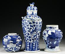 Three (3) Chinese Blue & White Porcelain Vases