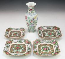 Five (5) Chinese Antique Porcelain Plates & Vase