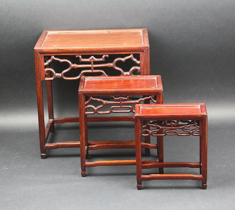 Three Carved Chinese Nesting Rosewood Tables