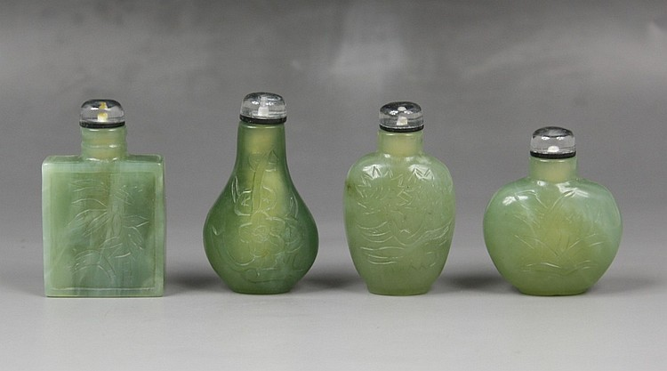 Set Of Four Chinese Celadon Jade Snuff Bottles