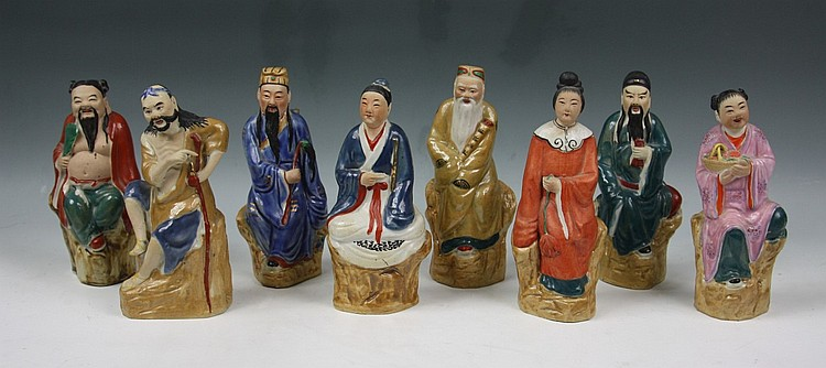 Set Of Chinese Porcelain Statues Eight Immortals