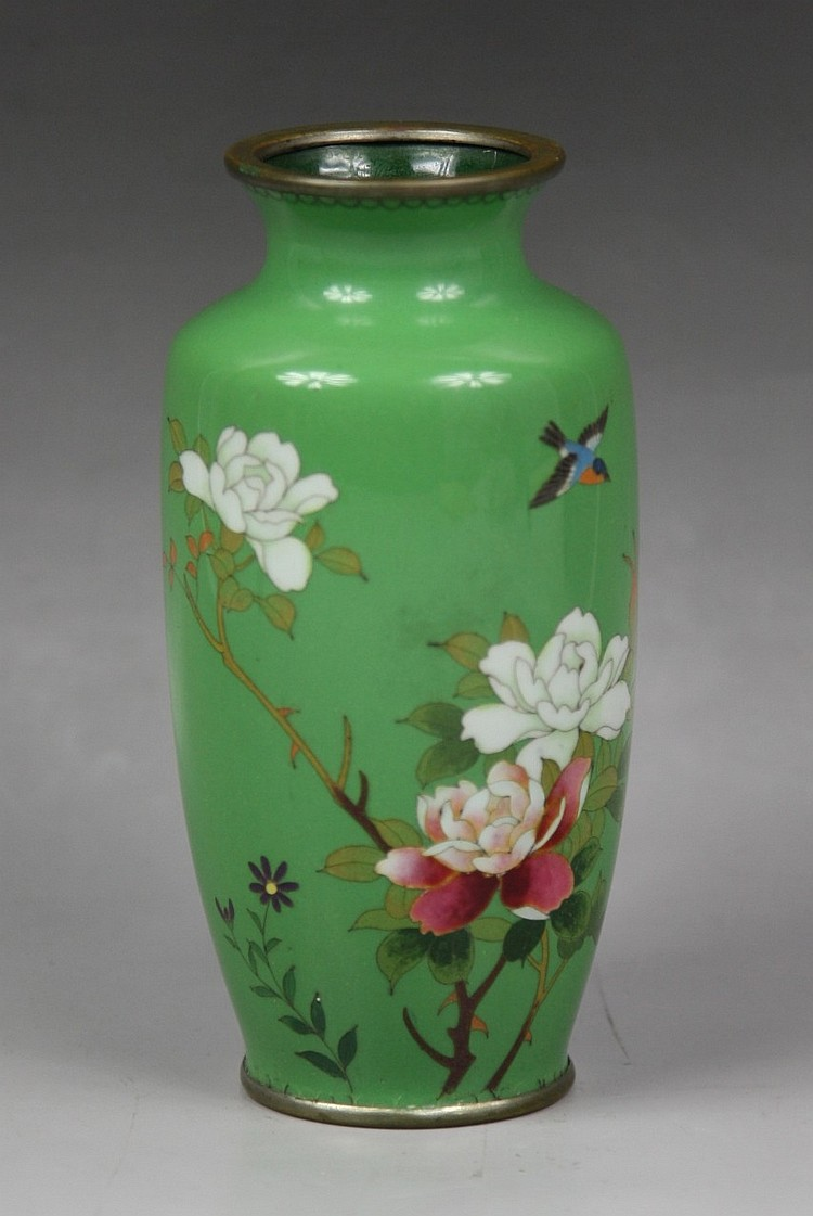 Delicate Japanese Wired Silver Cloisonne Vase