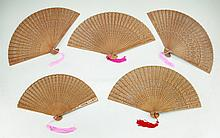 Five (5) Chinese Antique Wood Fans