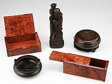 Five (5) Chinese Wood Boxes And Carvings