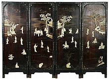 Four (4) Chinese Antique Applique Wood Screens