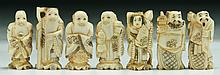 Seven (7) Japanese Antique Ivory Carved Lucky Gods