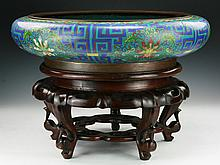 A Massive Chinese Antique Cloisonne Bronze Brush Washer