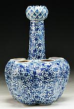 A Chinese Antique Six (6) Hole Blue & White Porcelain Vase