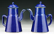 Pair Chinese Antique Blue Glazed Porcelain Teapots