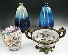 Four (4) Chinese Porcelain Jars & Plate