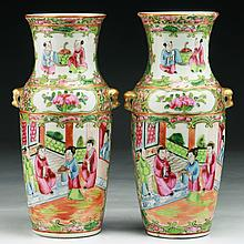 Pair Chinese Antique Rose Medallion Porcelain Vases