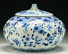 A Chinese Blue & White Porcelain Jar With Cover