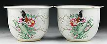 Pair Chinese Antique Famille Rose Porcelain Pots