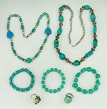 Seven (7) Turquoise/Like Items