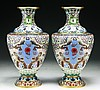 Pair Chinese Antique Cloisonne Bronze Vases