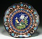 A Big Japanese Antique Silver Cloisonne Plate