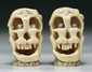 Pair Japanese Antique Carved Ivory Shunga Skulls
