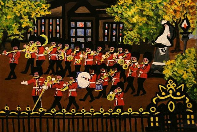 Gretta Bowen The Marching Band Mixed media on