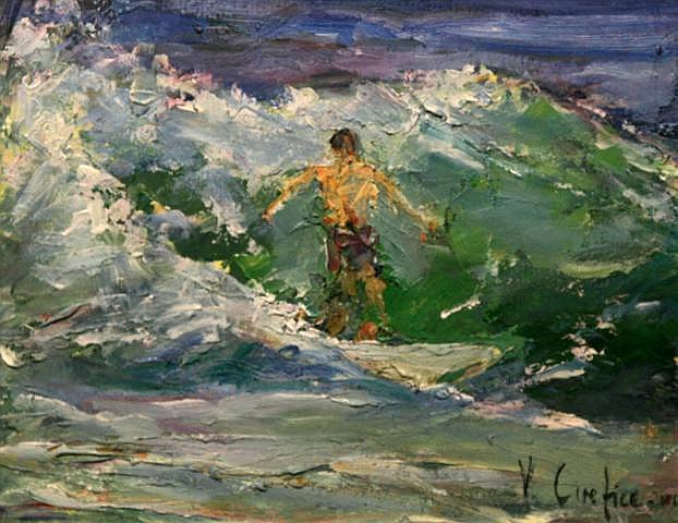 Vittorio Cirefice Surfing North Coast Oil 20.3 x