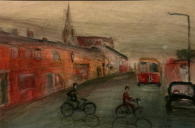 Colin Hamilton Cyclists Mixed Media 35 x 51 cms