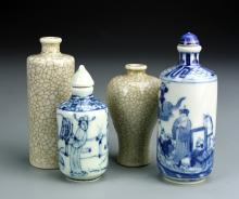 Four Chinese Porcelain Snuff Bottles