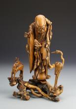 Chinese Boxwood Shoulao Statue