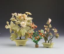 Three Chinese Jade, Stone and Coral Trees